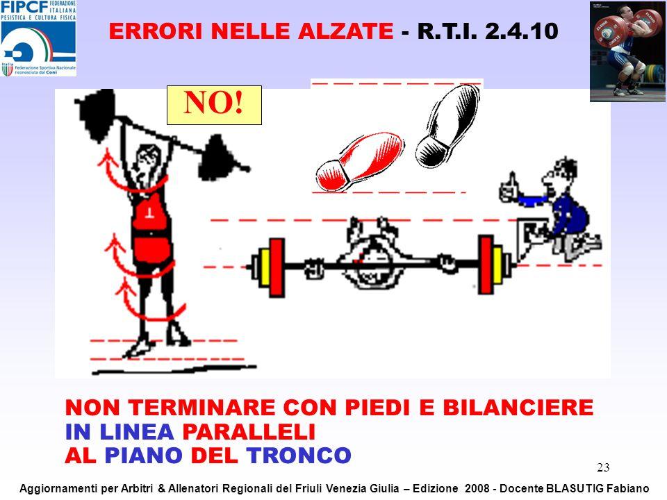 23 NON TERMINARE CON PIEDI E BILANCIERE IN LINEA PARALLELI AL PIANO DEL TRONCO NO! ERRORI NELLE ALZATE - R.T.I. 2.4.10 Aggiornamenti per Arbitri & All