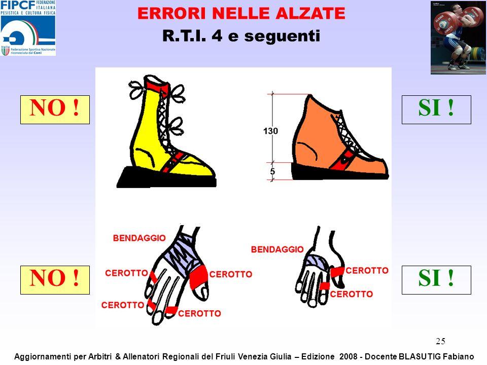 25 NO !SI ! NO !SI ! ERRORI NELLE ALZATE R.T.I. 4 e seguenti Aggiornamenti per Arbitri & Allenatori Regionali del Friuli Venezia Giulia – Edizione 200
