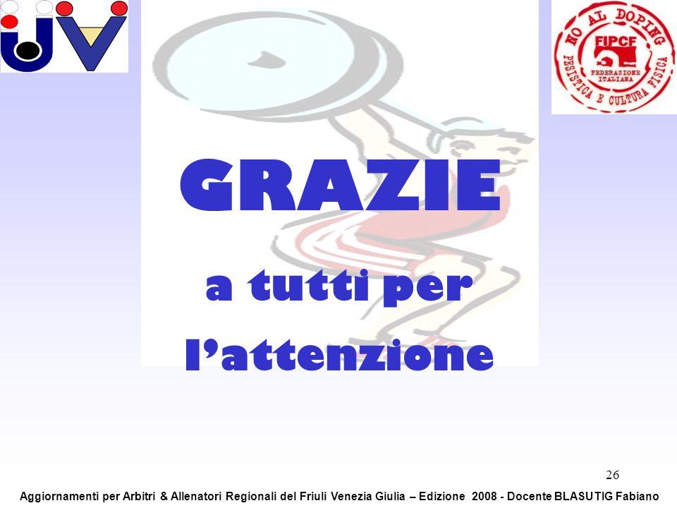 26 GRAZIE a tutti per lattenzione Aggiornamenti per Arbitri & Allenatori Regionali del Friuli Venezia Giulia – Edizione 2008 - Docente BLASUTIG Fabian
