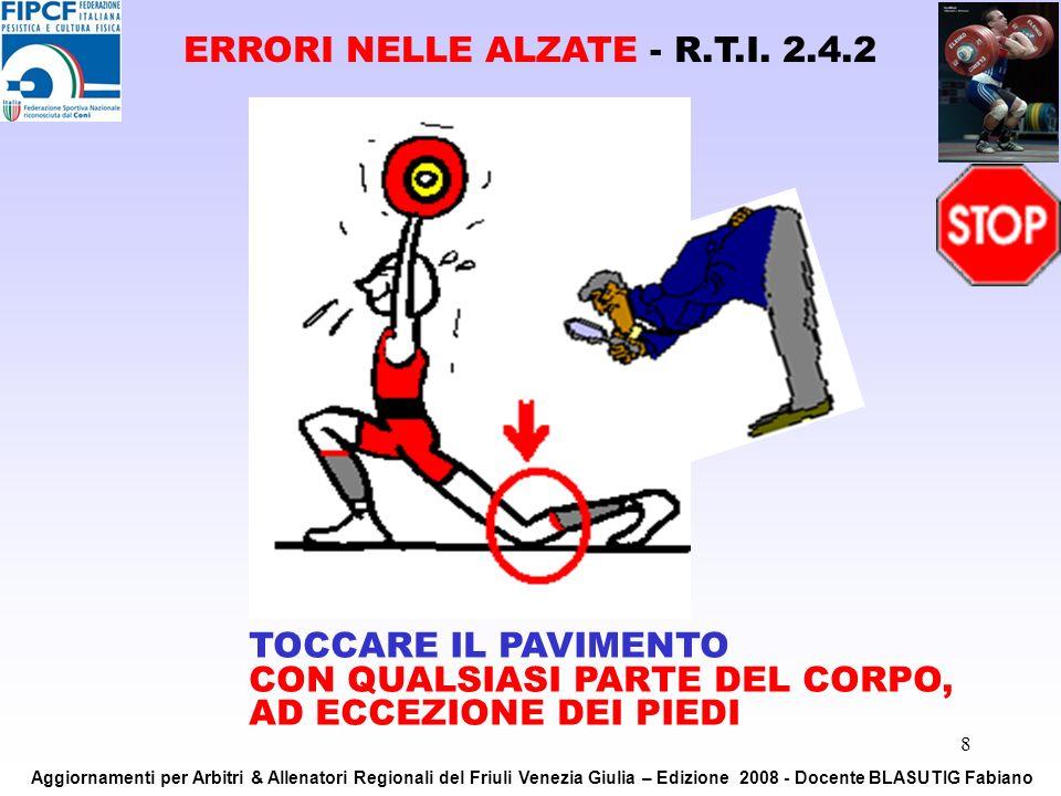 8 TOCCARE IL PAVIMENTO CON QUALSIASI PARTE DEL CORPO, AD ECCEZIONE DEI PIEDI ERRORI NELLE ALZATE - R.T.I. 2.4.2 Aggiornamenti per Arbitri & Allenatori