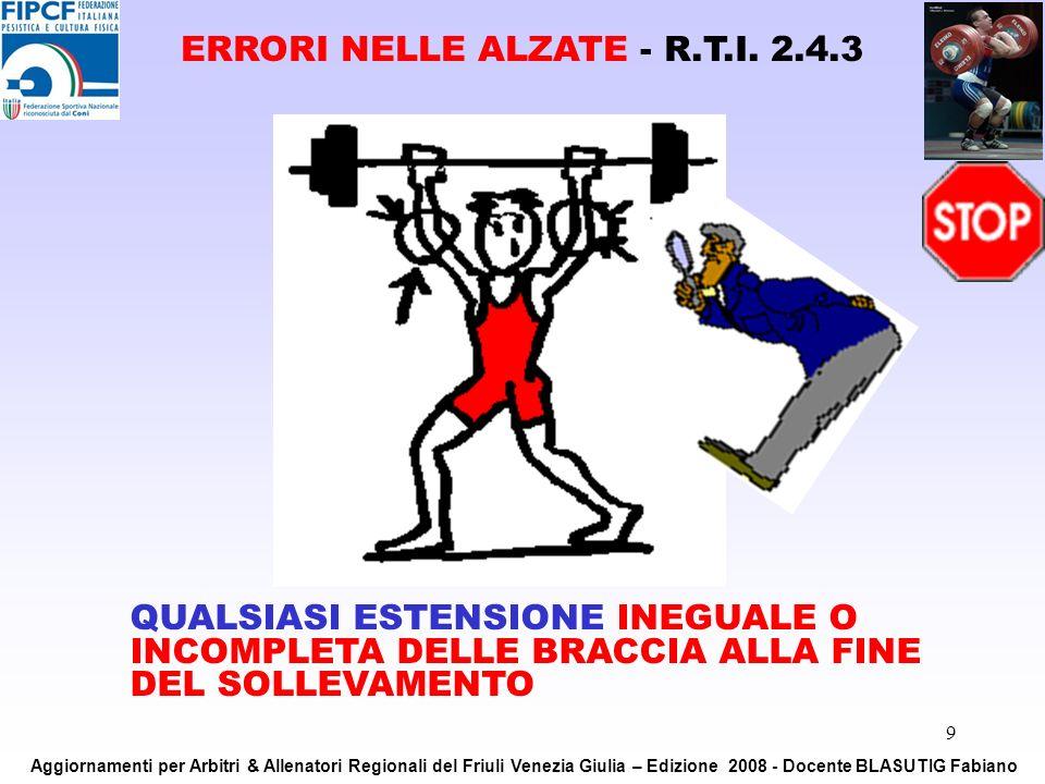 9 QUALSIASI ESTENSIONE INEGUALE O INCOMPLETA DELLE BRACCIA ALLA FINE DEL SOLLEVAMENTO ERRORI NELLE ALZATE - R.T.I. 2.4.3 Aggiornamenti per Arbitri & A