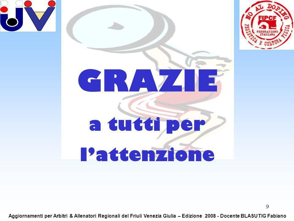9 GRAZIE a tutti per lattenzione Aggiornamenti per Arbitri & Allenatori Regionali del Friuli Venezia Giulia – Edizione 2008 - Docente BLASUTIG Fabiano