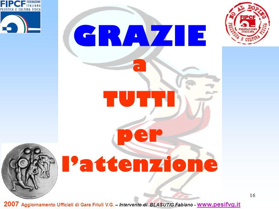 16 a TUTTI per lattenzione GRAZIE 2007 Aggiornamento Ufficiali di Gara Friuli V.G. – Intervento di BLASUTIG Fabiano - www.pesifvg.it www.pesifvg.it