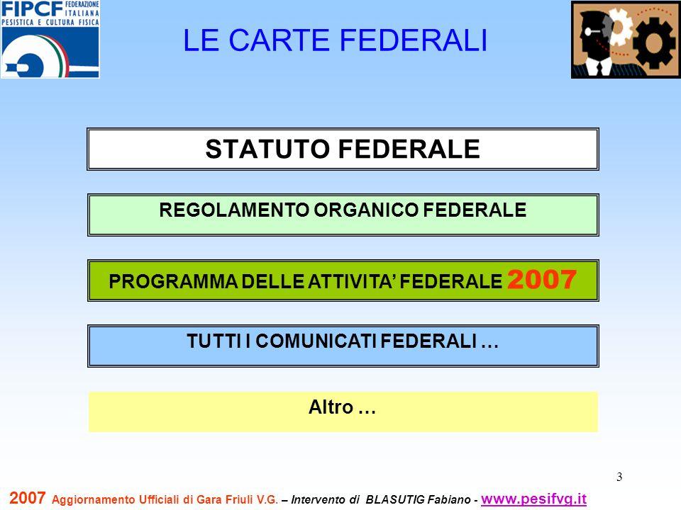 3 LE CARTE FEDERALI STATUTO FEDERALE REGOLAMENTO ORGANICO FEDERALE TUTTI I COMUNICATI FEDERALI … PROGRAMMA DELLE ATTIVITA FEDERALE 2007 Altro … 2007 A