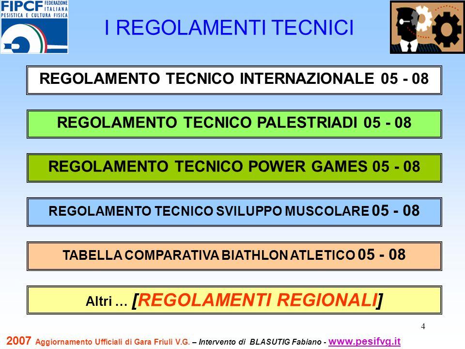 4 I REGOLAMENTI TECNICI REGOLAMENTO TECNICO INTERNAZIONALE 05 - 08 REGOLAMENTO TECNICO PALESTRIADI 05 - 08 REGOLAMENTO TECNICO SVILUPPO MUSCOLARE 05 -