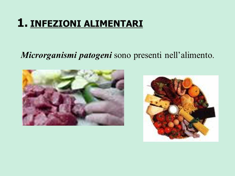 1. INFEZIONI ALIMENTARI Microrganismi patogeni sono presenti nellalimento.