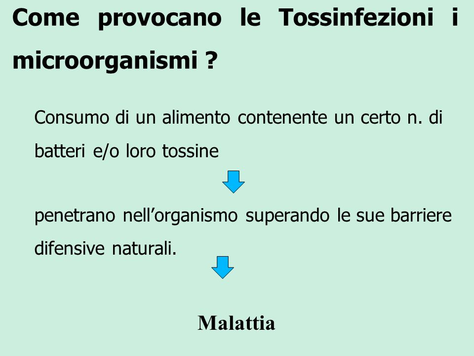 Come provocano le Tossinfezioni i microorganismi ? Consumo di un alimento contenente un certo n. di batteri e/o loro tossine penetrano nellorganismo s