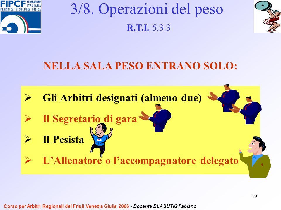 19 Gli Arbitri designati (almeno due) Il Segretario di gara Il Pesista LAllenatore o laccompagnatore delegato NELLA SALA PESO ENTRANO SOLO: 3/8.