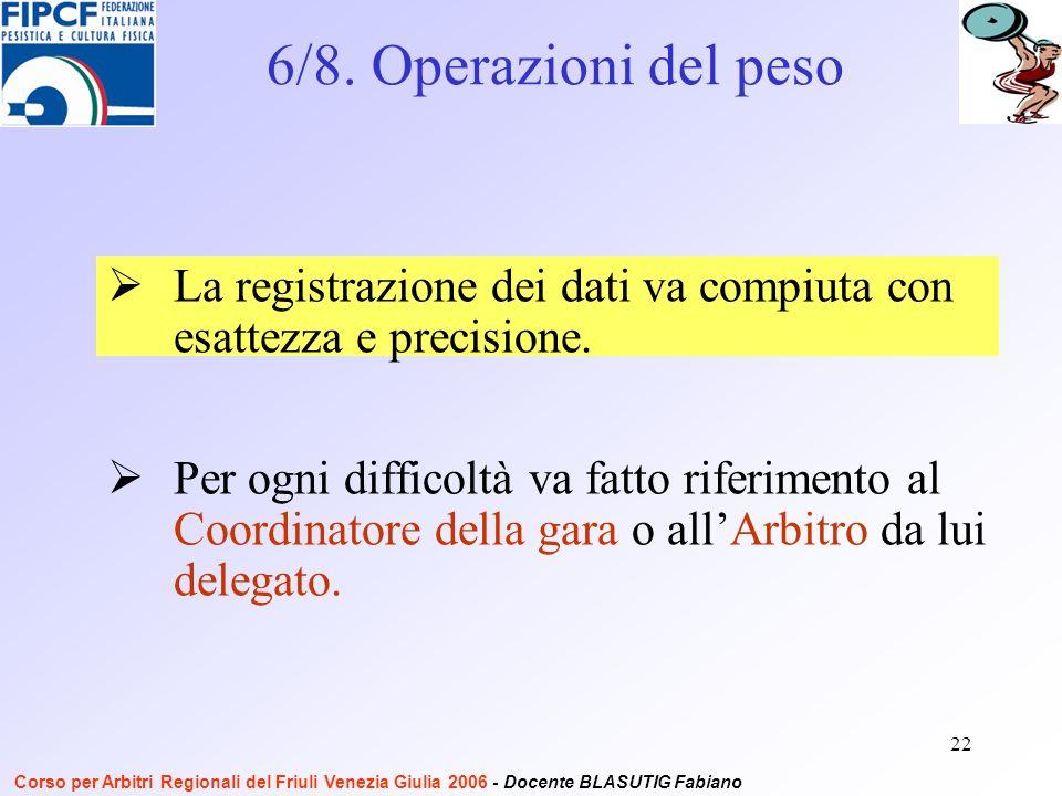 22 Per ogni difficoltà va fatto riferimento al Coordinatore della gara o allArbitro da lui delegato.
