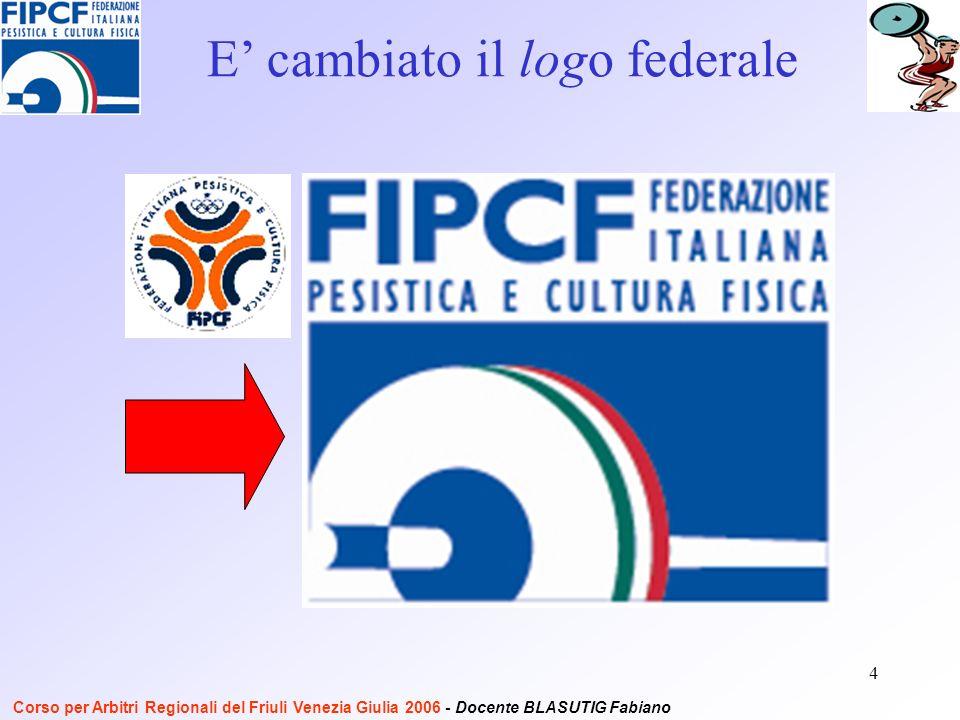 4 E cambiato il logo federale Corso per Arbitri Regionali del Friuli Venezia Giulia 2006 - Docente BLASUTIG Fabiano