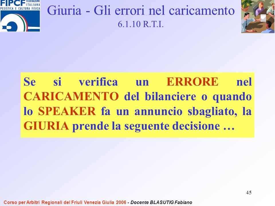 45 Se si verifica un ERRORE nel CARICAMENTO del bilanciere o quando lo SPEAKER fa un annuncio sbagliato, la GIURIA prende la seguente decisione … Giuria - Gli errori nel caricamento 6.1.10 R.T.I.