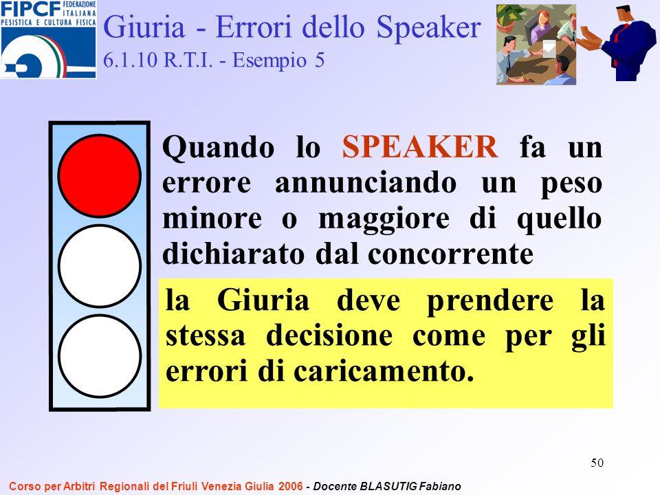 50 Quando lo SPEAKER fa un errore annunciando un peso minore o maggiore di quello dichiarato dal concorrente Giuria - Errori dello Speaker 6.1.10 R.T.I.