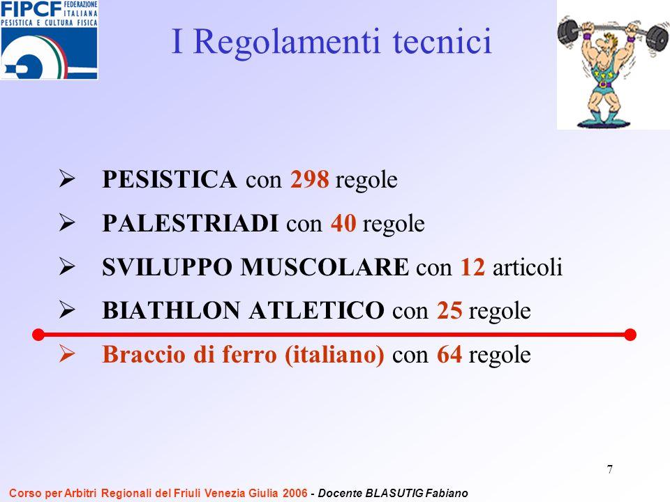 7 PESISTICA con 298 regole PALESTRIADI con 40 regole SVILUPPO MUSCOLARE con 12 articoli BIATHLON ATLETICO con 25 regole Braccio di ferro (italiano) con 64 regole I Regolamenti tecnici Corso per Arbitri Regionali del Friuli Venezia Giulia 2006 - Docente BLASUTIG Fabiano