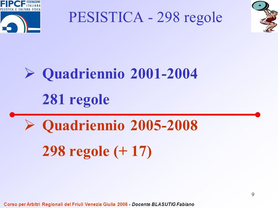9 Quadriennio 2001-2004 281 regole Quadriennio 2005-2008 298 regole (+ 17) PESISTICA - 298 regole Corso per Arbitri Regionali del Friuli Venezia Giulia 2006 - Docente BLASUTIG Fabiano
