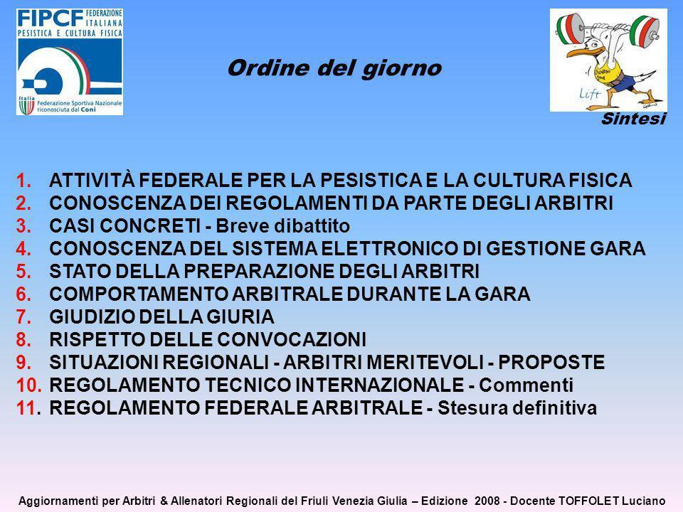 1. ATTIVITÀ FEDERALE PER LA PESISTICA E LA CULTURA FISICA 2.