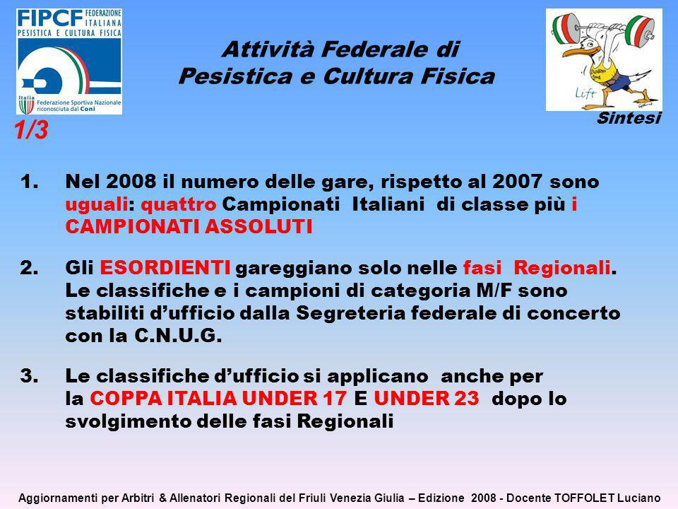 Attività Federale di Pesistica e Cultura Fisica 1.Nel 2008 il numero delle gare, rispetto al 2007 sono uguali: quattro Campionati Italiani di classe più i CAMPIONATI ASSOLUTI 2.Gli ESORDIENTI gareggiano solo nelle fasi Regionali.