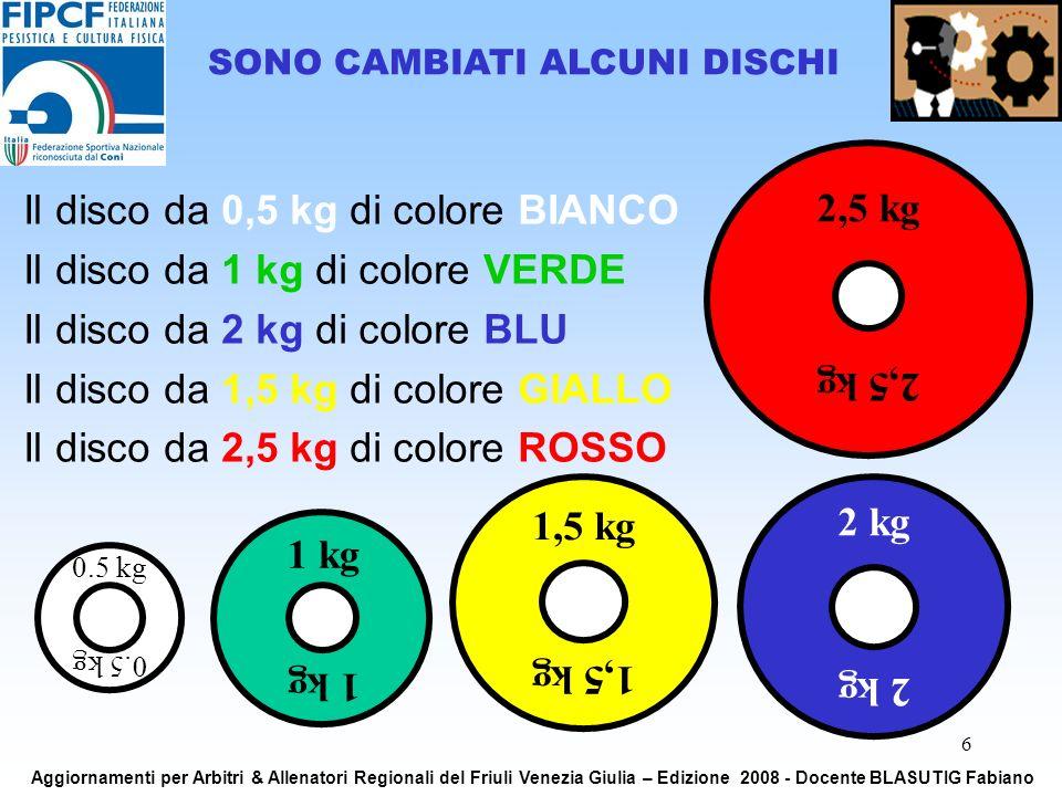 6 Il disco da 0,5 kg di colore BIANCO Il disco da 1 kg di colore VERDE Il disco da 2 kg di colore BLU Il disco da 1,5 kg di colore GIALLO Il disco da 2,5 kg di colore ROSSO SONO CAMBIATI ALCUNI DISCHI 2,5 kg 1 kg 2 kg 1,5 kg 0.5 kg Aggiornamenti per Arbitri & Allenatori Regionali del Friuli Venezia Giulia – Edizione 2008 - Docente BLASUTIG Fabiano
