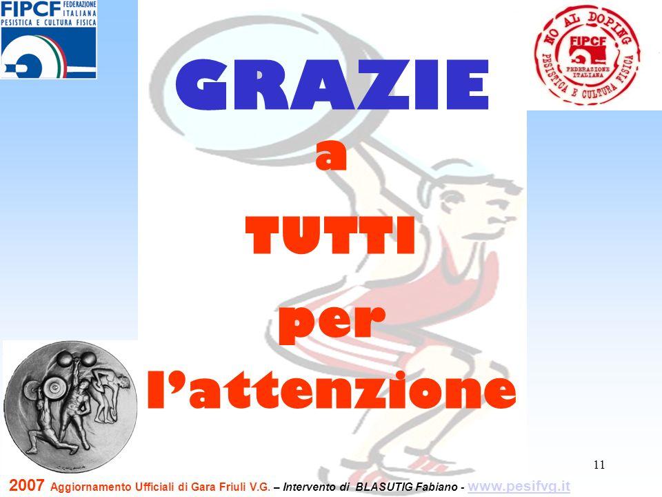 11 a TUTTI per lattenzione GRAZIE 2007 Aggiornamento Ufficiali di Gara Friuli V.G. – Intervento di BLASUTIG Fabiano - www.pesifvg.it www.pesifvg.it