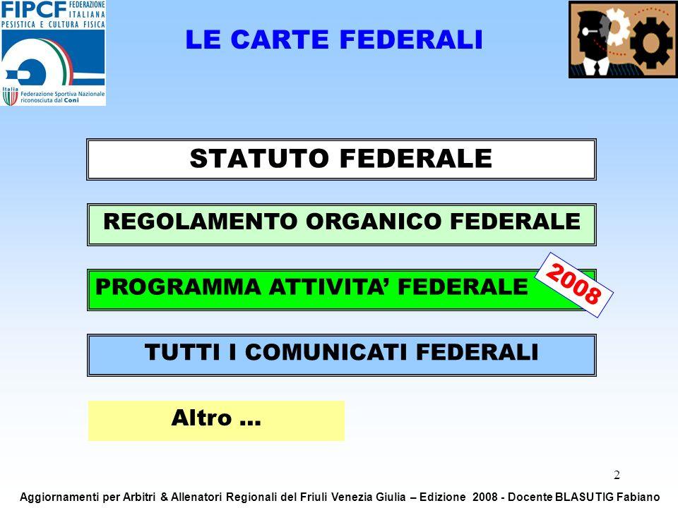 2 LE CARTE FEDERALI STATUTO FEDERALE REGOLAMENTO ORGANICO FEDERALE TUTTI I COMUNICATI FEDERALI PROGRAMMA ATTIVITA FEDERALE Altro … Aggiornamenti per Arbitri & Allenatori Regionali del Friuli Venezia Giulia – Edizione 2008 - Docente BLASUTIG Fabiano 2008