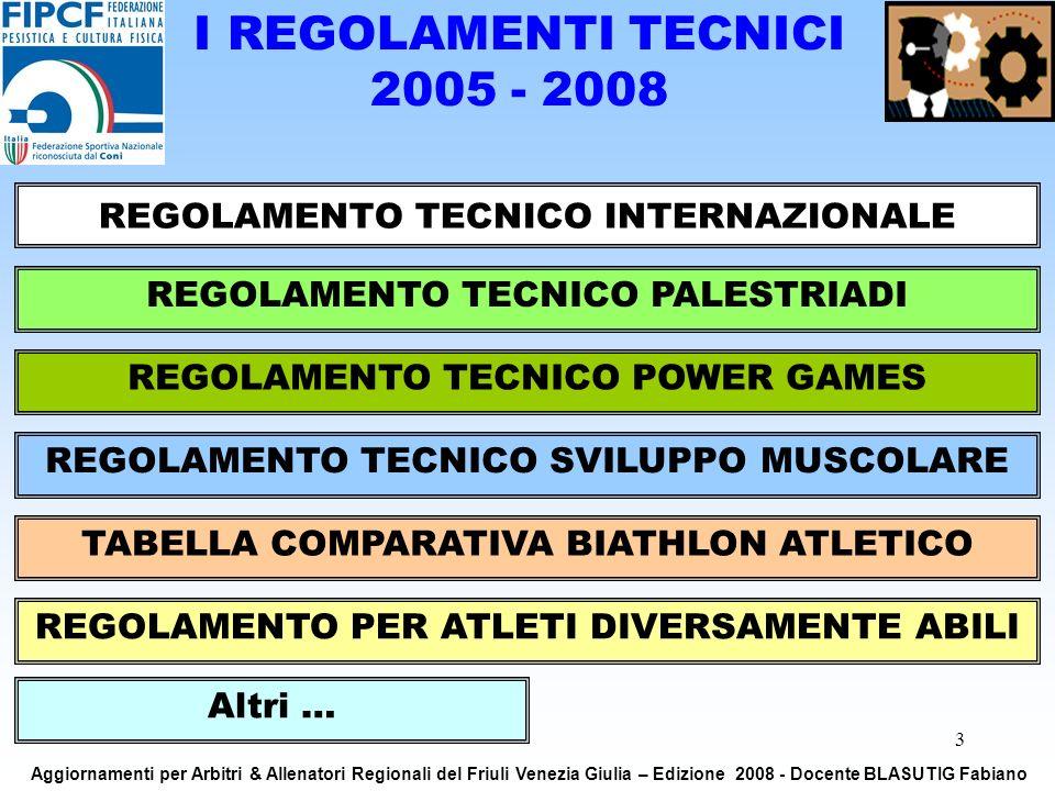 3 I REGOLAMENTI TECNICI 2005 - 2008 REGOLAMENTO TECNICO INTERNAZIONALE REGOLAMENTO TECNICO PALESTRIADI REGOLAMENTO TECNICO SVILUPPO MUSCOLARE REGOLAMENTO TECNICO POWER GAMES TABELLA COMPARATIVA BIATHLON ATLETICO REGOLAMENTO PER ATLETI DIVERSAMENTE ABILI Altri … Aggiornamenti per Arbitri & Allenatori Regionali del Friuli Venezia Giulia – Edizione 2008 - Docente BLASUTIG Fabiano