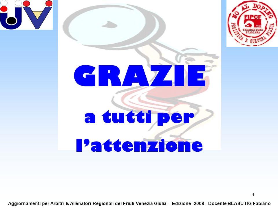 4 GRAZIE a tutti per lattenzione Aggiornamenti per Arbitri & Allenatori Regionali del Friuli Venezia Giulia – Edizione 2008 - Docente BLASUTIG Fabiano