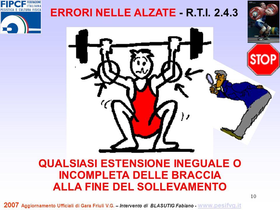 11 QUALSIASI ESTENSIONE INEGUALE O INCOMPLETA DELLE BRACCIA ALLA FINE DEL SOLLEVAMENTO ERRORI NELLE ALZATE - R.T.I.
