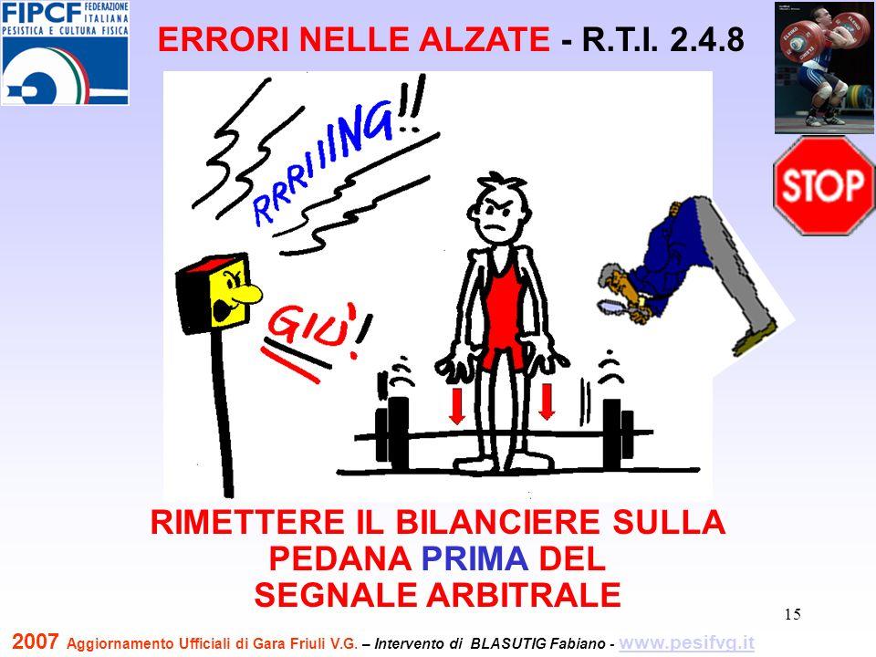 16 LASCIAR CADERE IL BILANCIERE DOPO IL SEGNALE ARBITRALE ERRORI NELLE ALZATE - R.T.I.