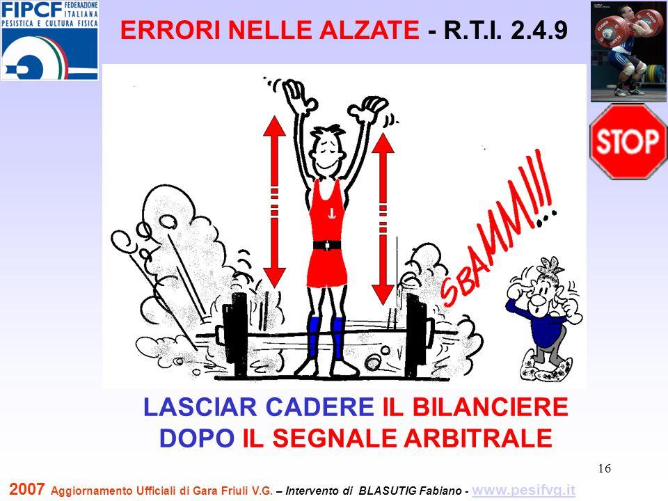 17 IL BILANCIERE COMPLETO DEVE TOCCARE PRIMA LA PEDANA ERRORI NELLE ALZATE - R.T.I.