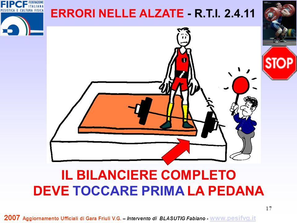 18 FARE UNA PAUSA DURANTE IL SOLLEVAMENTO DEL BILANCIERE Strappo ERRORI NELLE ALZATE - R.T.I.