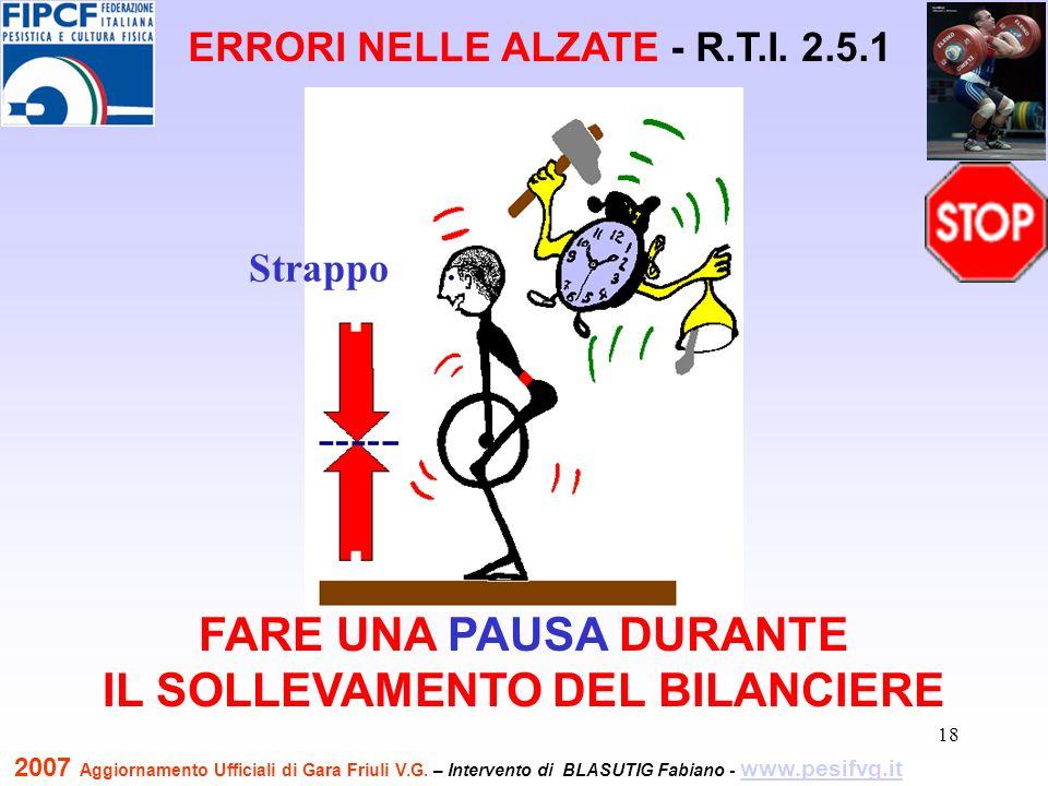 19 TOCCARE CON LA TESTA LA SBARRA QUANDO SI COMPLETA IL SOLLEVAMENTO ERRORI NELLE ALZATE - R.T.I.