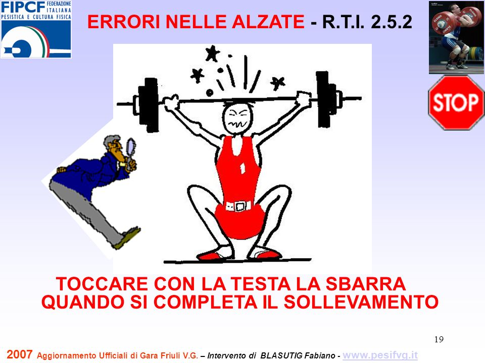 20 TOCCARE LA COSCIA O LE GINOCCHIA CON IL GOMITO O CON LAVAMBRACCIO ERRORI NELLE ALZATE - R.T.I.