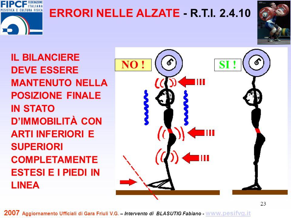 24 NO !SI .NO !SI . ERRORI NELLE ALZATE R.T.I.
