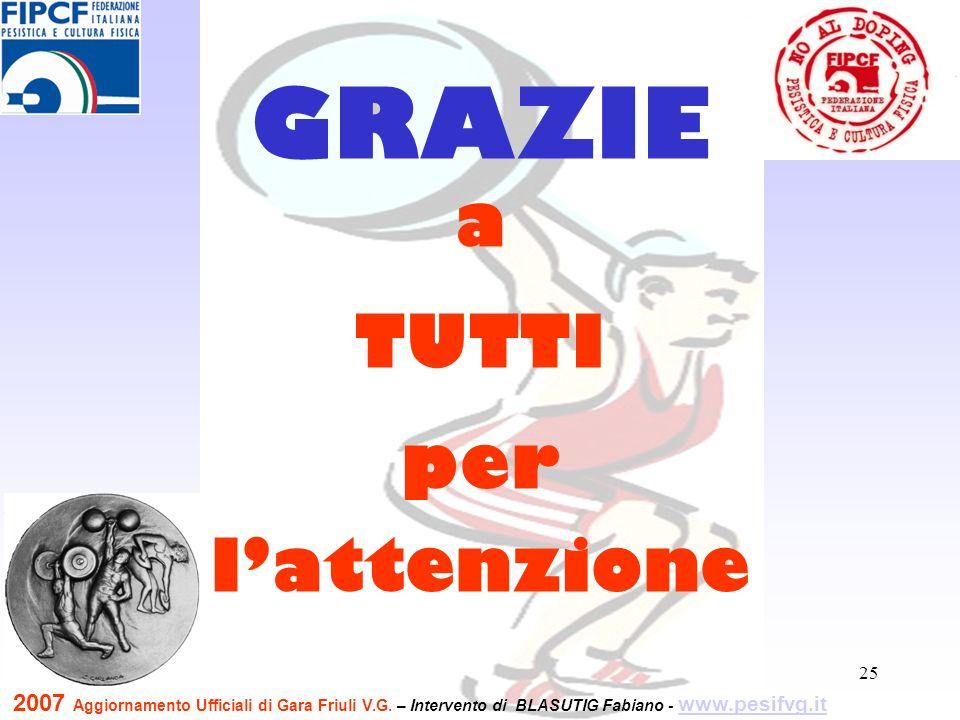 25 a TUTTI per lattenzione GRAZIE 2007 Aggiornamento Ufficiali di Gara Friuli V.G.