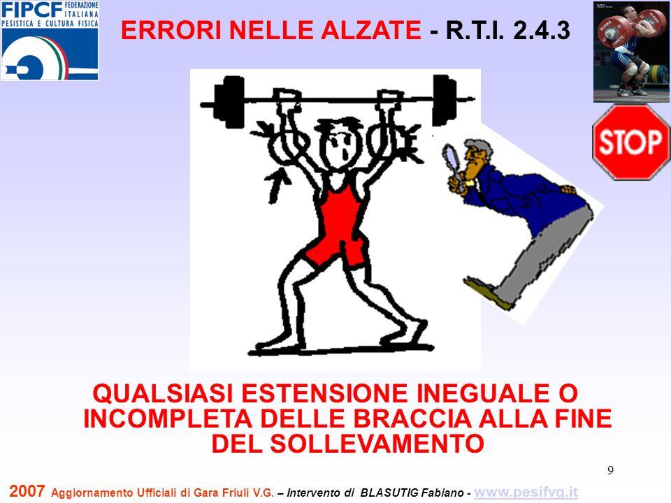 10 QUALSIASI ESTENSIONE INEGUALE O INCOMPLETA DELLE BRACCIA ALLA FINE DEL SOLLEVAMENTO ERRORI NELLE ALZATE - R.T.I.