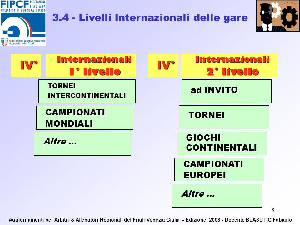 4 2.4 - Livello Regionale, Interregionale e Nazionale delle gare Regionali Interregionali I° - II° III°Nazionali Promozionali Giochi Sportivi Studenteschi Giovanissimi ed Esordienti Cadetti, Speranze, Juniores, Seniores ASSOLUTI Promozionali Criterium Giovanissimi Cadetti, Speranze, Juniores, Seniores ASSOLUTI Altre … Aggiornamenti per Arbitri & Allenatori Regionali del Friuli Venezia Giulia – Edizione 2008 - Docente BLASUTIG Fabiano