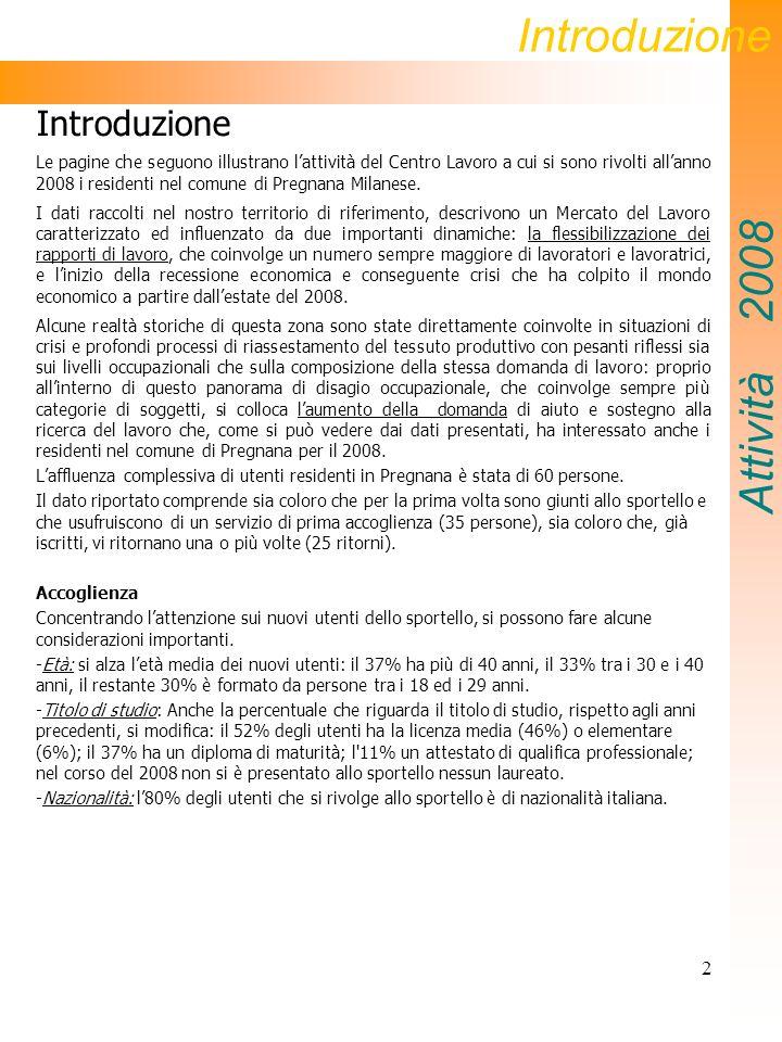 2 Introduzione Le pagine che seguono illustrano lattività del Centro Lavoro a cui si sono rivolti allanno 2008 i residenti nel comune di Pregnana Milanese.