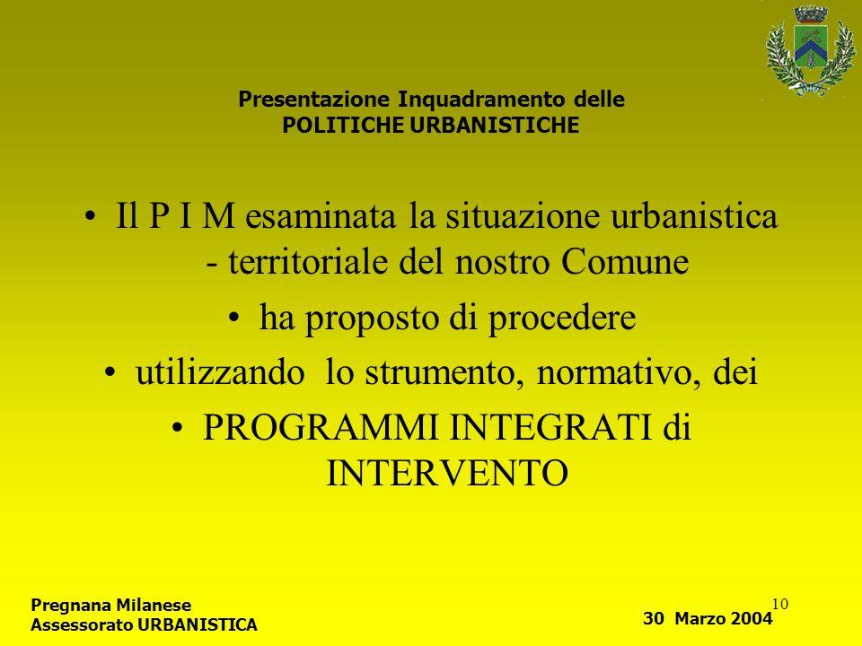10 Presentazione Inquadramento delle POLITICHE URBANISTICHE Il P I M esaminata la situazione urbanistica - territoriale del nostro Comune ha proposto