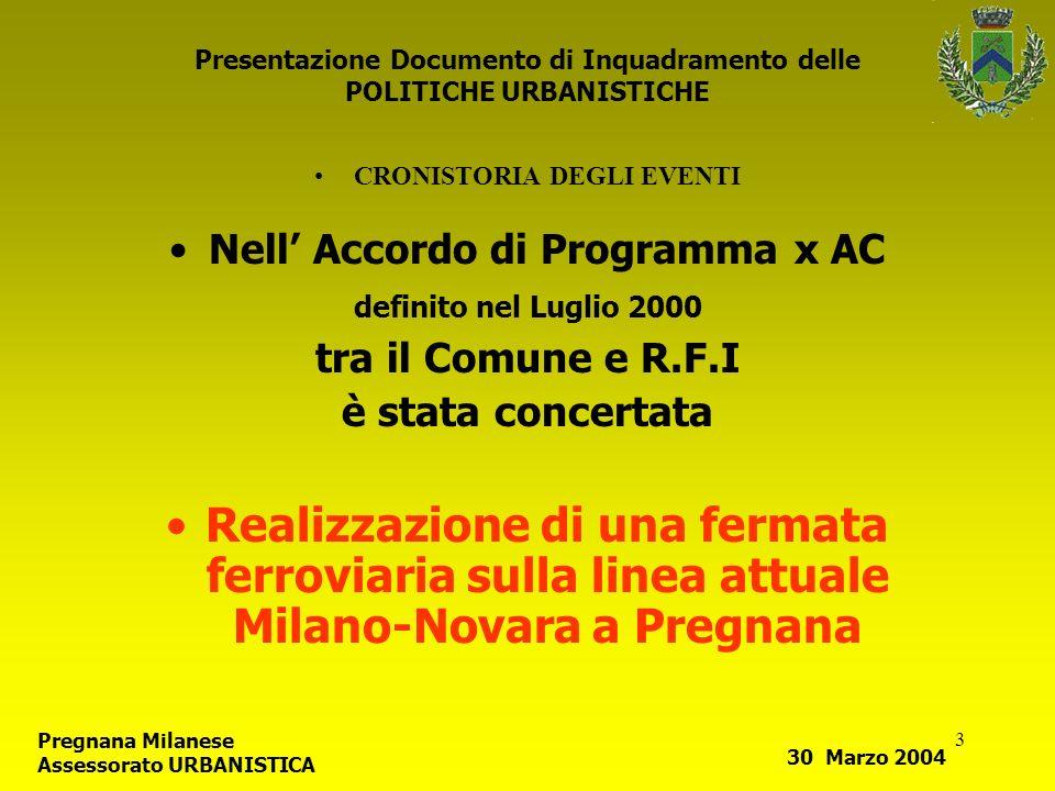 3 Presentazione Documento di Inquadramento delle POLITICHE URBANISTICHE CRONISTORIA DEGLI EVENTI Nell Accordo di Programma x AC definito nel Luglio 20