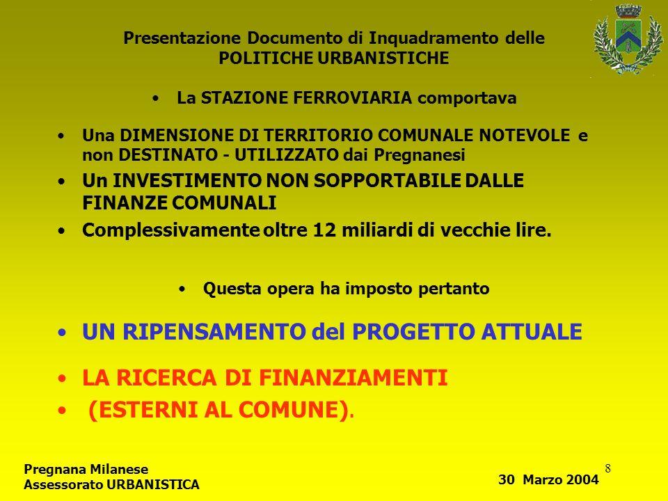 8 Presentazione Documento di Inquadramento delle POLITICHE URBANISTICHE La STAZIONE FERROVIARIA comportava Una DIMENSIONE DI TERRITORIO COMUNALE NOTEV