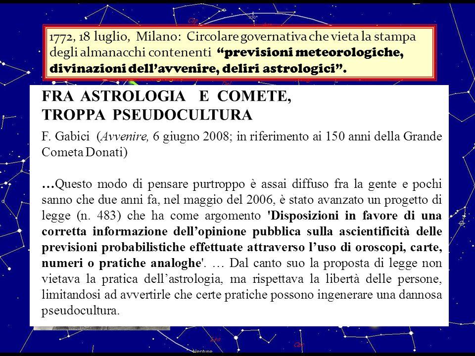 1772, 18 luglio, Milano: Circolare governativa che vieta la stampa degli almanacchi contenenti previsioni meteorologiche, divinazioni dellavvenire, de