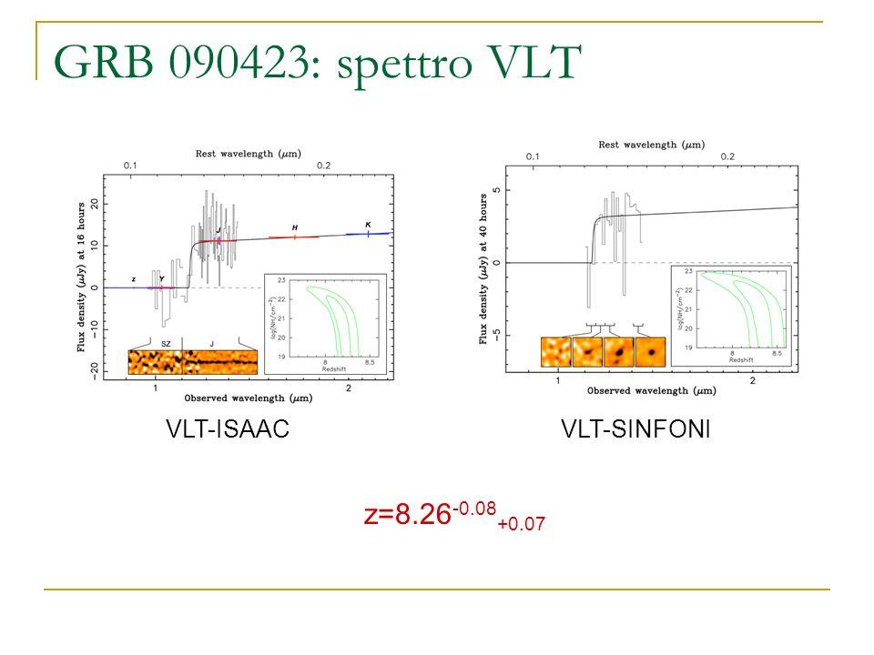 GRB 090423: spettro VLT z=8.26 -0.08 +0.07 VLT-ISAACVLT-SINFONI