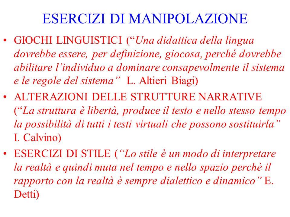 ESERCIZI DI MANIPOLAZIONE GIOCHI LINGUISTICI (Una didattica della lingua dovrebbe essere, per definizione, giocosa, perché dovrebbe abilitare lindivid