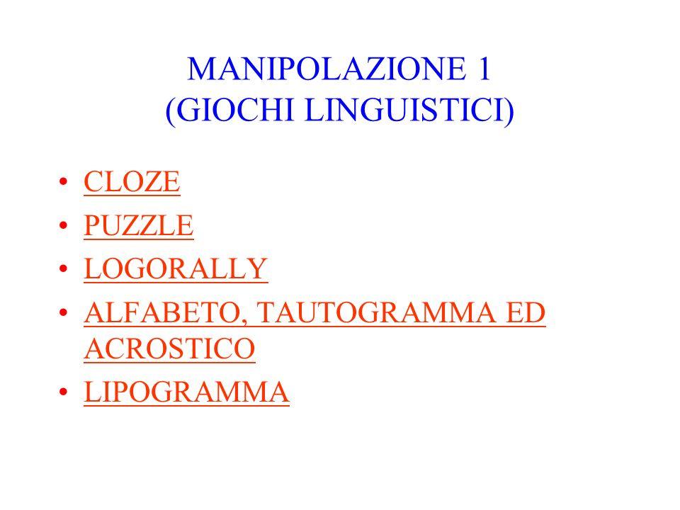 MANIPOLAZIONE 1 (GIOCHI LINGUISTICI) CLOZE PUZZLE LOGORALLY ALFABETO, TAUTOGRAMMA ED ACROSTICOALFABETO, TAUTOGRAMMA ED ACROSTICO LIPOGRAMMA