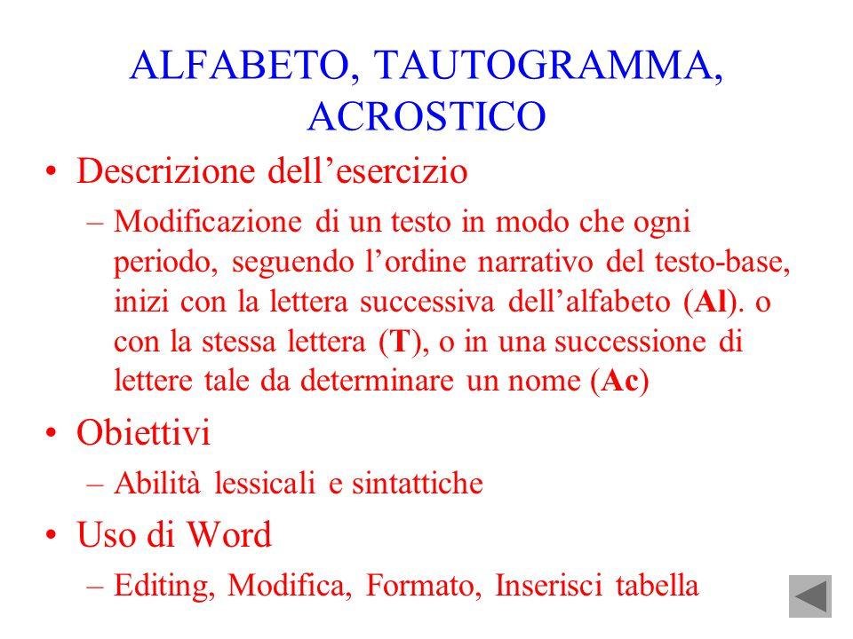 ALFABETO, TAUTOGRAMMA, ACROSTICO Descrizione dellesercizio –Modificazione di un testo in modo che ogni periodo, seguendo lordine narrativo del testo-b