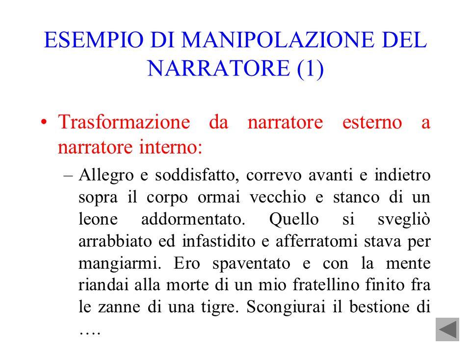 ESEMPIO DI MANIPOLAZIONE DEL NARRATORE (1) Trasformazione da narratore esterno a narratore interno: –Allegro e soddisfatto, correvo avanti e indietro