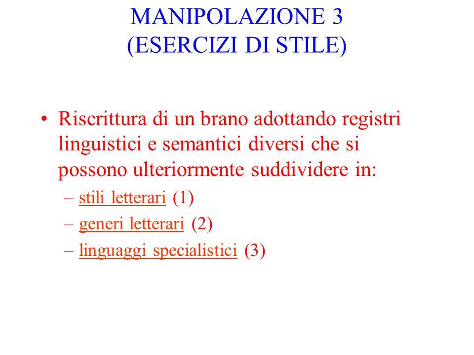 MANIPOLAZIONE 3 (ESERCIZI DI STILE) Riscrittura di un brano adottando registri linguistici e semantici diversi che si possono ulteriormente suddivider
