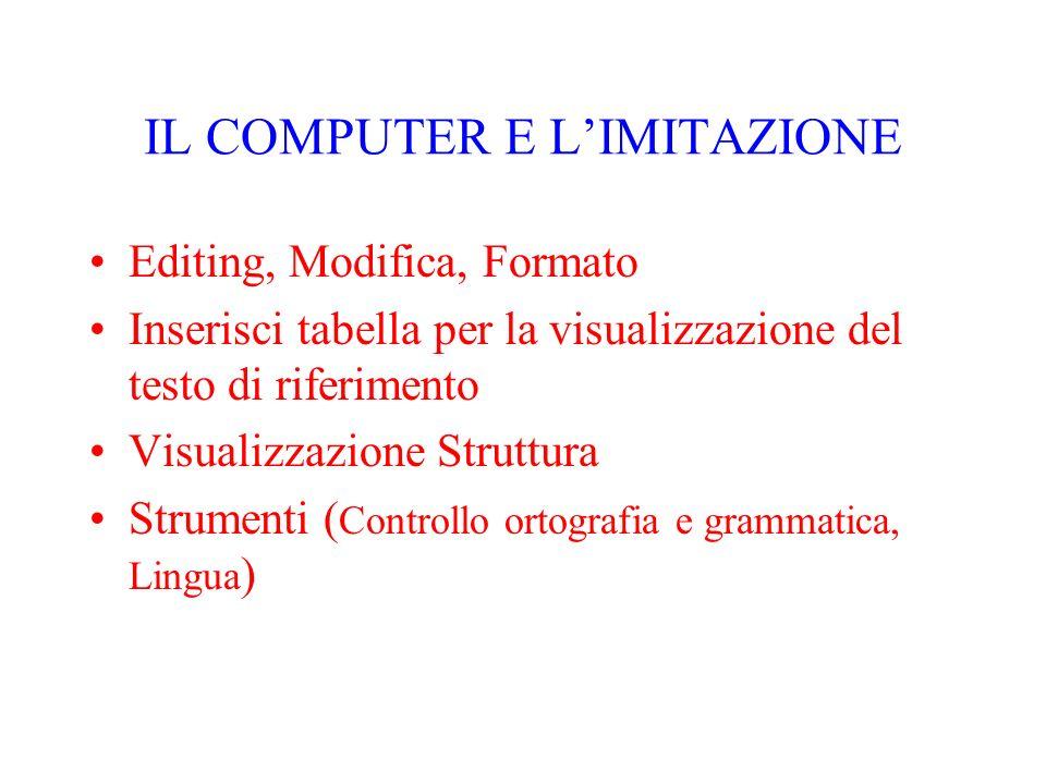 IL COMPUTER E LIMITAZIONE Editing, Modifica, Formato Inserisci tabella per la visualizzazione del testo di riferimento Visualizzazione Struttura Strum