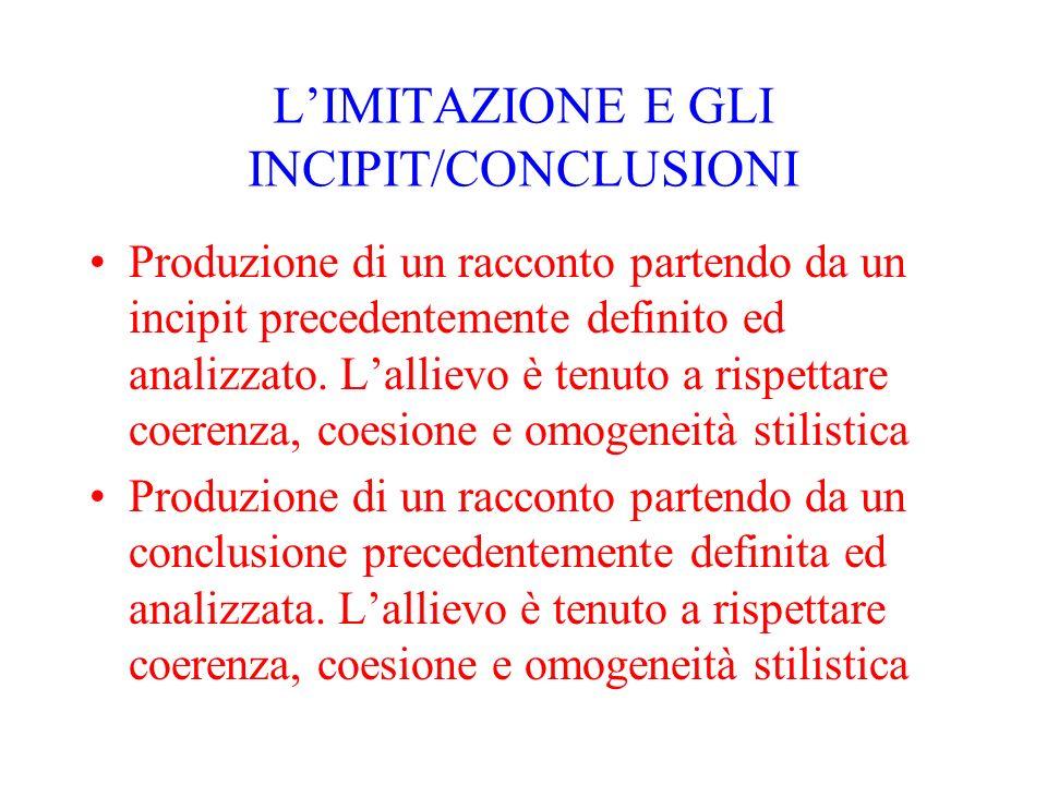 LIMITAZIONE E GLI INCIPIT/CONCLUSIONI Produzione di un racconto partendo da un incipit precedentemente definito ed analizzato. Lallievo è tenuto a ris
