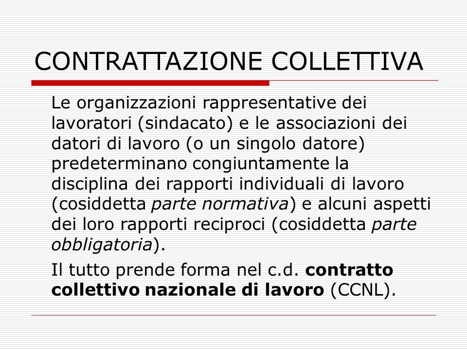 CONTRATTAZIONE COLLETTIVA Le organizzazioni rappresentative dei lavoratori (sindacato) e le associazioni dei datori di lavoro (o un singolo datore) pr