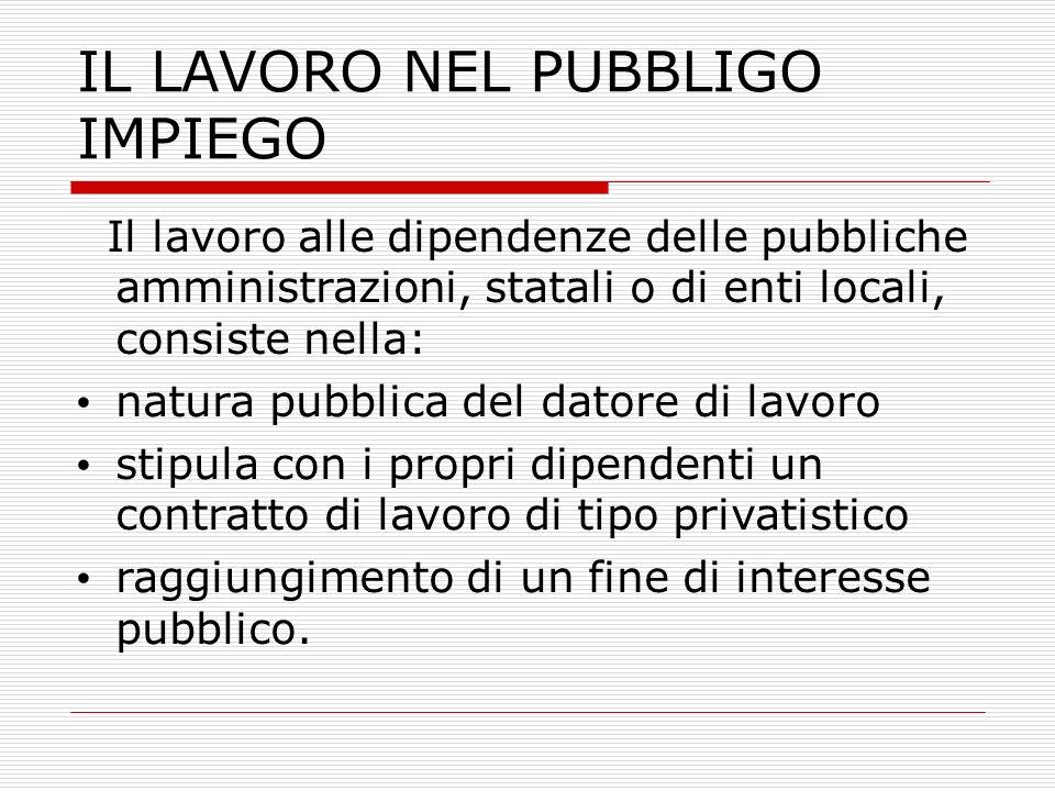 IL LAVORO NEL PUBBLIGO IMPIEGO Il lavoro alle dipendenze delle pubbliche amministrazioni, statali o di enti locali, consiste nella: natura pubblica de
